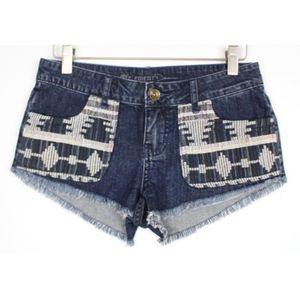 ELEMENT Woven Embroidered Cut Off Jean Shorts